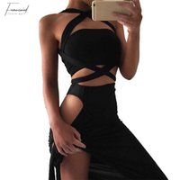 Sem mangas Mulheres Sexy Bandage Bodycon Halter Lace Up Slim Party Cocktail Club Curto Mini Vestido Transporte da gota