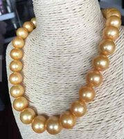 Nuovo raffinato Gorgeous13-15mm Round Sea South Sea Gold Pearl Collana perla 18inch14K