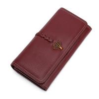 Yeni Kadın Uzun hakiki Deri cüzdan moda Debriyaj Çanta bayanlar Çanta Cüzdan bayan cüzdan ücretsiz kargo