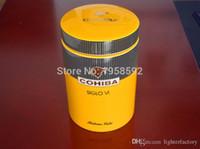 COHIBA Gadget Classic Gelb Zylindrisch SIGLO VI Sheeny Keramik-Zigarrenschlauch Hermetikdose MINI Humidor W / Gfit Box
