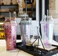 The latest 3 color double-layer plastic straw cups, cat ear glitter double-layer plastic cups, made of food-grade materials safely, free shi