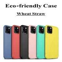 Paille de blé Ecolo-convivial Soft TPU Téléphone pour iPhone 12 Mini 11 Pro Max XR XS 8 7 6 Plus Note 20 10 S21 S20 Ultra Case à l'environnement
