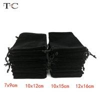 12шт / серия Оптовый черный бархат сумка Drawstring бархата сумки мешочек Ювелирная упаковка Показать мешки коробки подарка