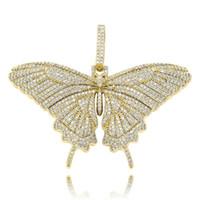 럭셔리 디자이너 전체 다이아몬드 작은 나비 목걸이 펜던트 골드 실버 도금 샤인 남성 힙합 보석 선물