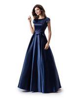 Navy Blue A-Line Long Modest Modeste Bal Robe avec Cap Manches Simple Bijou Coulée Durée De Plancher Teens Teens Soirée Dress Modest