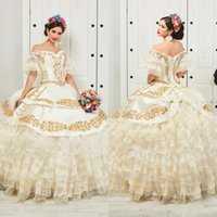 Ruffled Floral Charro Quinceanera Dresses 2020 Off Shoulder Puffy Skirt Gold Embroidery Beads Princess Sweety 16 Girls Masquerade Prom Dress