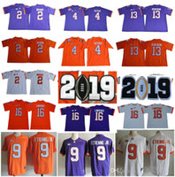 Clemson Tigers 16 Trevor Lawrence 9 Travis Etienne Jr. 4 Deshaun Watson 13 Hunter Renfrow 2 Kelly Bryant Purple White Orange NCAA maglie