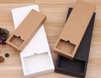 Caja de papel de papel Kraft Blanco Blanco Caja de cajón para la ropa interior de regalo de té Cartón de embalaje de galletas Se puede personalizar 8x8x4cm 12x9x3.3cm 17x8x3.5cm