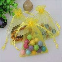 100pcs / lot بالجملة 20 * 30cm ومجوهرات صفراء تغليف الحقائب يمكن تخصيص الشعار الرباط الأورجانزا هدية حقيبة