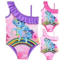 3 färger unicorn regnbåge tryckta barn baddräkt 3-10t baby flickor en bit baddräkt tjejer designer badkläder bikini dhl ess141