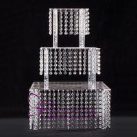 Soporte de pastel de 3 niveles cuadrado de acrílico con cuentas de araña para el banquete de boda de cumpleaños Cascade Torre de la magdalena Centro de la boda de la torre