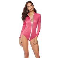 Pink Sexy Faux Leather Onesies Cremallera frontal Erotic Discoteca Ropa interior de manga larga Mujer PVC Steampunk Body