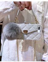 Mode Fermoir métal véritable fourrure de renard pendentif boule carte sac sac à main à longue chaîne cas pour l'iPhone 12 Mini 11 Pro XS Max XR X 8 7 6S plus