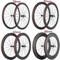 50분의 38 / 60 / 88mm 현무암 브레이크 휠 표면 탄소 자전거 도로 휠 세트와 R13 25mm 허브 바퀴