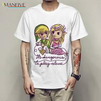 Estate Nuovo caldo gioco The Legend of Zelda T shirt E 'pericoloso giocare T-Shirt da solo Progetti fumetto bello Hipster Top Tees