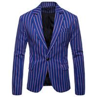 Moda Mavi Dikey Çizgili Blazer Ceket Erkekler Slim Fit Blazers Erkekler Suits İş Biçimsel Bir Düğme Blazer Masculino 3XL