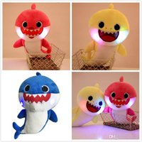 Los 32cm LED iluminan la música Los juguetes de peluche de Baby Shark cantan la canción en inglés Cartoon Stuffed Lovely Animal Muñecas suaves música Shark Toy z296