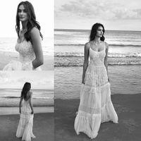 2020 Yeni Lihi Hod Beach Gelinlik Spagetti Kolsuz Backless Aplike Dantel Gelinlik Kat Boy A-Line gelinlik 1645