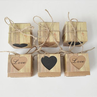 10pcs / lot Love Christmas Candy Box Cuore romantico Kraft Gift Bag Con tela Twine Chic bomboniere confezione regalo forniture 5x5x5cm
