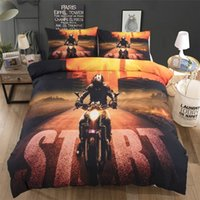 Motorcycle Printed Bedding Suit Quilt Cover 3 Pics Duvet Cov...