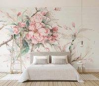 Personalizzato stereoscopio 3D murale Carta da parati rosa fiori di ciliegio sfondo per camera ragazze che vivono camera da letto della parete 3D Wallpaper