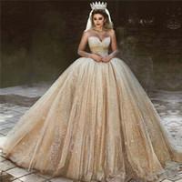 2020 Arabisch Gold Pailletten Brautkleider Prinzessin Ballkleid Royal Sweetheart Perlen Sparkly Prinzessin Brautkleider