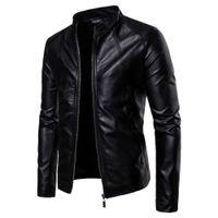 Magro Jacket Moda Masculina cor sólida motocicleta casacos de inverno chaqueta hombre Windproof revestimento de couro preto kurtka skorzana