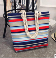 Designer Casual Summer Canvas Shopper Shoulder Bag Striped B...