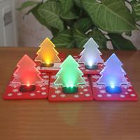 LED d'arbre de Noël Veilleuse Portable pliant de poche LED Lampe de table de cadeau de Noël Décoration Carte Lumière Livraison gratuite