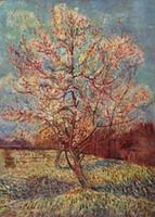 Casa Decoração Canvas Pinturas A óleo Paisagem Paisagem Pêssego Árvore em Flores por Vincent Van Gogh Foto Arte para Dinning Sala Quarto Decoração de Parede Sem Moldura Mão Feita