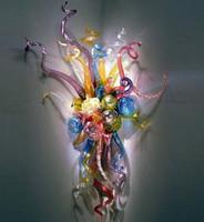 Decoração da arte moderna mão luz lâmpadas sopradas personalizadas decoração de casa diodo emissor de luz de vidro SCONCE