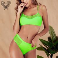 Kırpılmış Top Yeşil Bikini File İki adet Swim Push Up Mesh Yüksek Waisted biquini Tankinis Bikiny 2019 Mayo Woman ayarlar Takımları