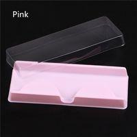 4COLORS شفاف الأبيض الوردي الرموش التغليف البلاستيكية صندوق همية رمش علبة التخزين غطاء لحالة واحدة شفاف غطاء مسح صينية