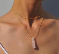 2019 Bohemian Summer Gold Chain Collane in cristallo naturale pendenti in pietra Collana girocollo per le donne Gioielli di moda