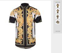 Neues Muster-Shirt für Außenhandel Herrenmode Persönlichkeit Muster 3D Digitaldruck Revers bequemes Kurzarm-Shirt