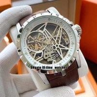 Новый стиль Excalibur Tourbillon Автоматическая Мужские часы RDDBEX0393 Скелет циферблат высокого Qualit 45mm Мужская уборная Часы Silver Case коричневый кожаный ремешок