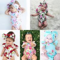 Säuglingsbaby-Blumen-Spielanzug-Sommer-5-Farben-Overalls INS-Kinderfliegenhülsen, die Kleidung mit Blumendruck-Stirnband klettern Nachrichten