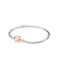 18K Rose Gold Clip classic BRACELET Set Original Box for Pan...