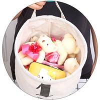 1pcs bonito Início Cotton tecido de linho Cesta de armazenamento Balde Make up cestas Organizador Cube gaveta Container Bolsa de armazenamento