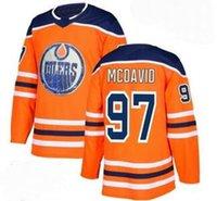 에드먼턴 오일 러스 # 97 McDavid와 화이트 도로 스티치 저지, 남성 19 MAROON 29 DRAISAITL 27 루치치 93 누젠트 - 홉킨스 교육 아이스 하키 유니폼 착용