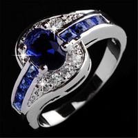 여성을위한 예쁜 결혼 반지 럭셔리 쥬얼리 아름답게 파란색 크리스탈 다이아몬드 반지 약혼 결혼식 보석 반지