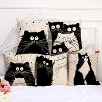6 colores lindo totoro gato de dibujos animados almohada encantadora funda de almohada de una cara de impresión personalizable casa de lino dormitorio sofá funda de almohada DH0572