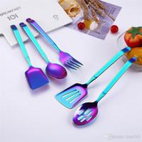 Renkli Kahve Kaşık 304 Paslanmaz Çelik Uzun Kol 5 stil Koreli Karıştırma Kaşık Seti Tatlı Uzun Buz Mutfak Scoop T1I363