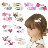 Ins flamingo Girls Barrettes glisten baby Barrettes kids BB ...