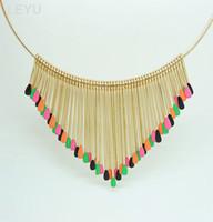 Gros-Multicolor match bâton Tassel court cercle collier collier collier personnalité exagérée déclaration bohême style pour les femmes LY