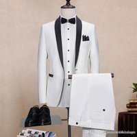 White Mens Suits Wedding Tuxedos Shawl Lapel Best Man Prom S...