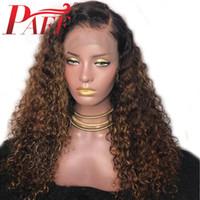 PAFF الرباط كامل الشعر الإنسان الباروكات غلويليس الرباط الباروكات كامل ابيض عقدة مجعد الشعر البرازيلي أومبير تسليط الضوء على اللون الباروكات