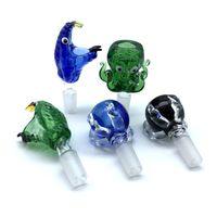 Di spessore 14mm 18mm ciotole di vetro maschio blu verde nero nero serpente testa polpo drago claw monster fumare ciotola di vetro per tabacco acqua di bong