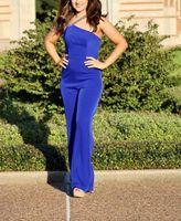 Mermaid Mulheres Long Royal Blue Pant Jumpsuit Prom Vestidos Robe De Soiree frisada de um ombro Evening vestidos de cetim Vestido de Festa