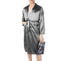 남성 파자마 회색 가운 패브릭 부드럽게 라펠 스트랩 솔리드 컬러 남성의 긴 실크 나이트 가운 잠옷 롱 니트